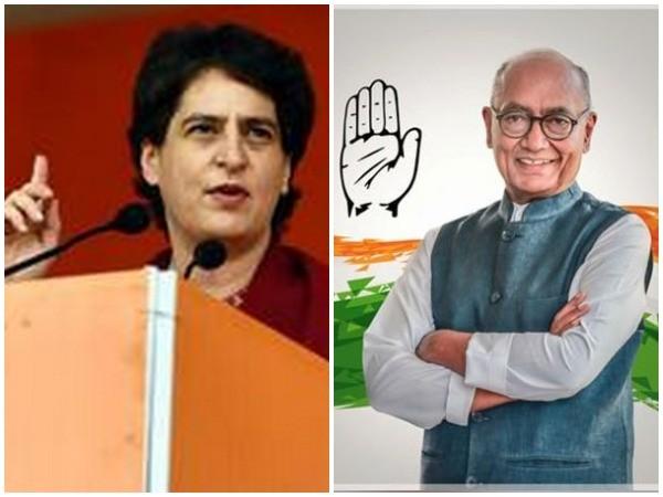 Congress leaders Priyanka Gandhi Vadra and Digvijaya Singh (Photo/ANI)