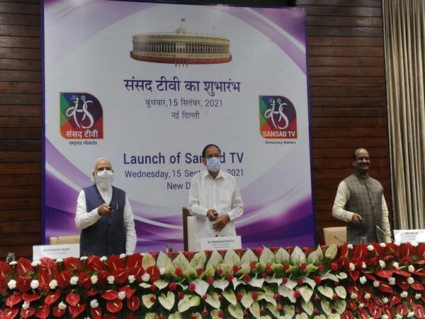 Prime Minister Narendra Modi, Vice President M. Venkaiah Naidu and Lok Sabha Speaker Om Birla at the launch event of Sansad TV (Photo/ANI)