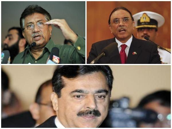 Pakistan's former presidents Pervez Musharraf (Top L), Asif Ali Zardari (Top R) and former Prime Minister Yousaf Raza Gillani. (Bottom) (File Photo)