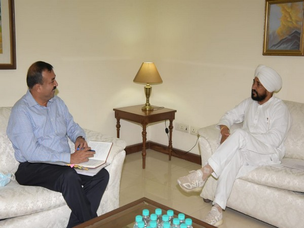 Punjab Chief Minister S Charanjit Singh Channi and Union Secretary Sudhanshu Pandey during a meeting in Chandigarh on Friday. [Photo/ANI]