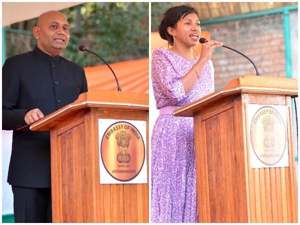 India's Ambassador to Madagascar Abhay Kumar (L) and Lalatiana Rakotondrazafy Andriatongarivo, Minister of Communication and Culture of Madagascar (R)