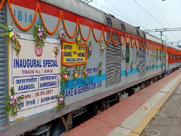 The Asansol-Ahmedabad Express flagged off by Union Minister Ashwini Vaishnaw on Sunday.