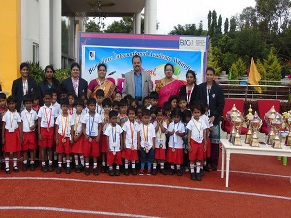 Tiny Tots excelling at the Sports day Celebration at Bangalore International Academy Whitefield with Chairman, Management and Teacher