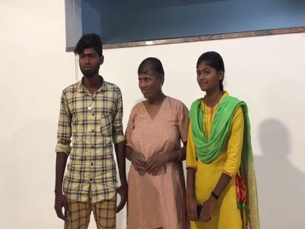 Mary's (in the middle) daughter and son who came to the White Doves destitute home to take her back home to Coimbatore.