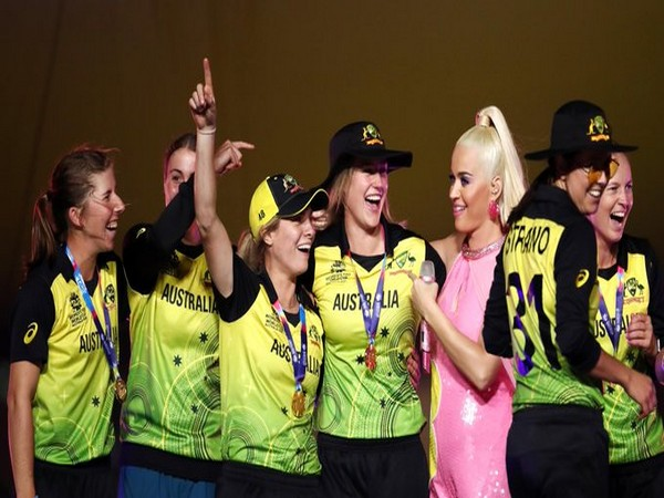 Australia women's team celebrates T20 World Cup win with Katy Perry (Photo/ ICC Media Twitter)