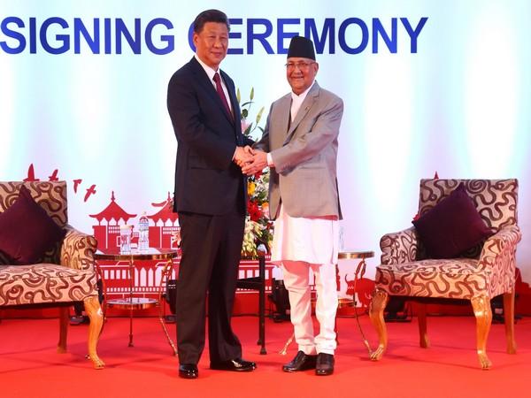 Chinese President Xi Jinping with Nepalese Prime Minister KP Sharma Oli in Kathmandu on Sunday.