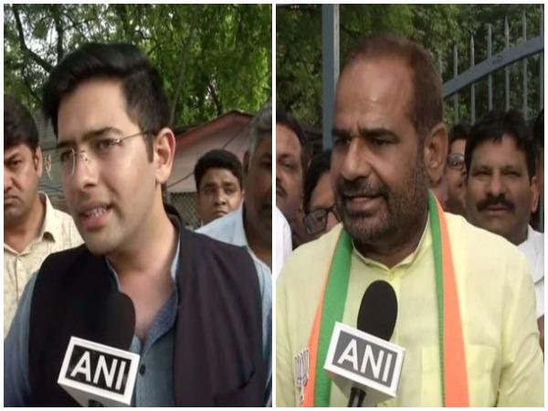 AAP candidate Raghav Chadha and BJP candidate Ramesh Bidhuri speaking to ANI in New Delhi on Wednesday. Photo/ANI