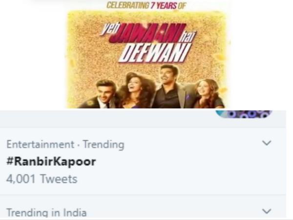 #RanbirKapoor trends on Twitter as 'Yeh Jawaani Hai Deewani' clocks 7 years (Image source: Twitter)