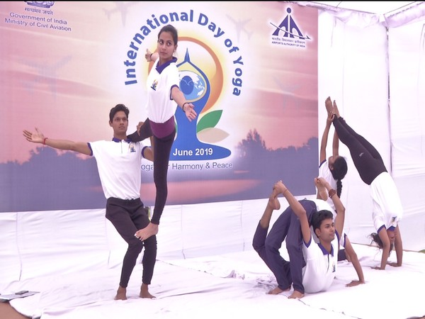 Airports Authority of India celebrated fifth International Yoga Day at Rajiv Gandhi Bhawan in New Delhi on Friday