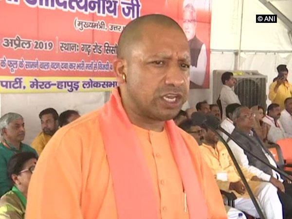 Chief Minister Yogi Adityanath speaking at an election rally in Meerut, Uttar Pradesh, on Tuesday. Photo/ANI