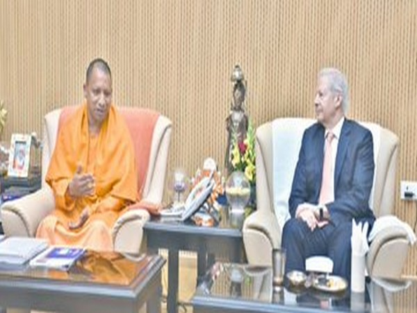US Ambassador to India Kenneth Juster and Chief Minister Yogi Adityanath during a discussion in Lucknow, ahead of the five-day DefExpo 2020 here.