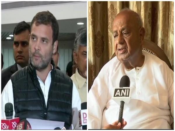 Congress president Rahul Gandhi and  JDS chief HD Deve Gowda