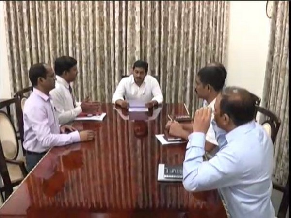 Andhra Pradesh Chief Minister YS Jagan Mohan Reddy reviews availability of essential commodities in view of lockdown in the state. Photo/ANI