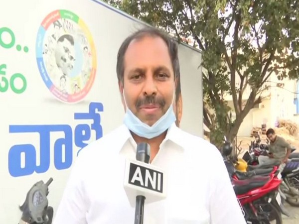 Andhra govt's chief whip and YSRCP leader Gadikota Srikanth Reddy talking to ANI on Monday. Photo/ANI