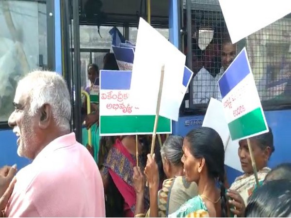 Police detaining YSRCP supporters for organising a rally in favour of government's proposal of three capitals in Andhra Pradesh on Monday