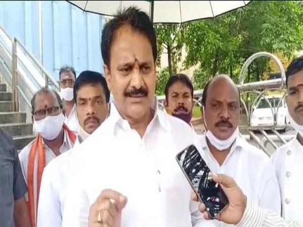 YSRCP Rajya Sabha MP Mopidevi Venkataramana Rao speaking to the reporters on Saturday.