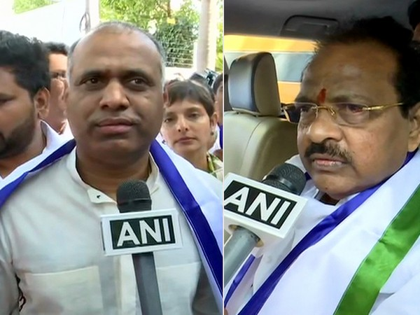 P Vara Prasad and Thota Narasimham (left to right) speaking to ANI after joining YSR Congress Party in Hyderabad on Wednesday.