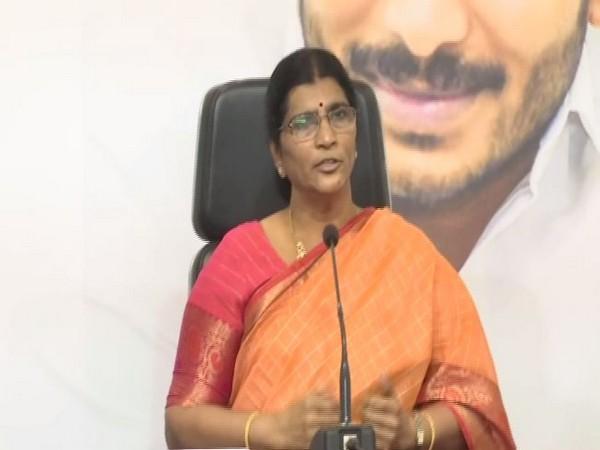 YSRCP leader Lakshmi Parvathi at a  press conference  . Photo/ANI