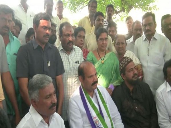YSRCP leaders speaking to media while staging protest against TDP chief Naidu in Vijayawada on Thursday. (Photo/ANI)