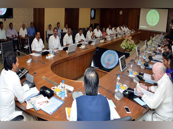 Andhra Pradesh Cabinet meeting chaired by CM YS Jagan Mohan Reddy in Amaravati on Monday. Photo/Twitter