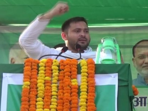 Rashtriya Janata Dal (RJD) leader Tejashwi Yadav speaking in Gaya on Monday. Photo/ANI