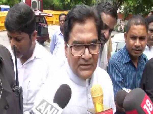 Samajwadi Party MP Ram Gopal Yadav speaking to reporters in New Delhi on Thursday. Photo/ANI