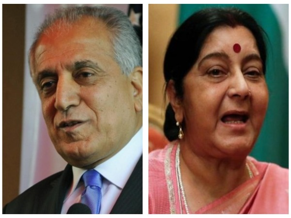 United States Special Representative for Afghanistan Reconciliation Zalmay Khalilzad (left) and External Affairs Minister Sushma Swaraj (right)
