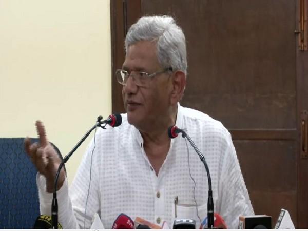 CPM leader Sitaram Yechury speaking to media persons in New Delhi on Thursday. Photo/ANI