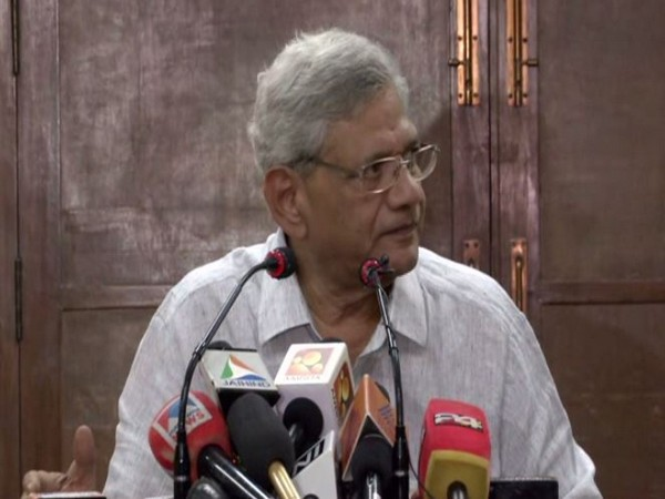 CPI(M) general secretary Sitaram Yechury briefing the media after Polit Bureau meeting. Photo/ANI