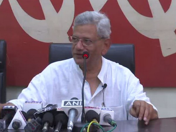 CPM general secretary Sitaram Yechury speaking to reporters in Kolkata on Wednesday. (Photo/ANI)