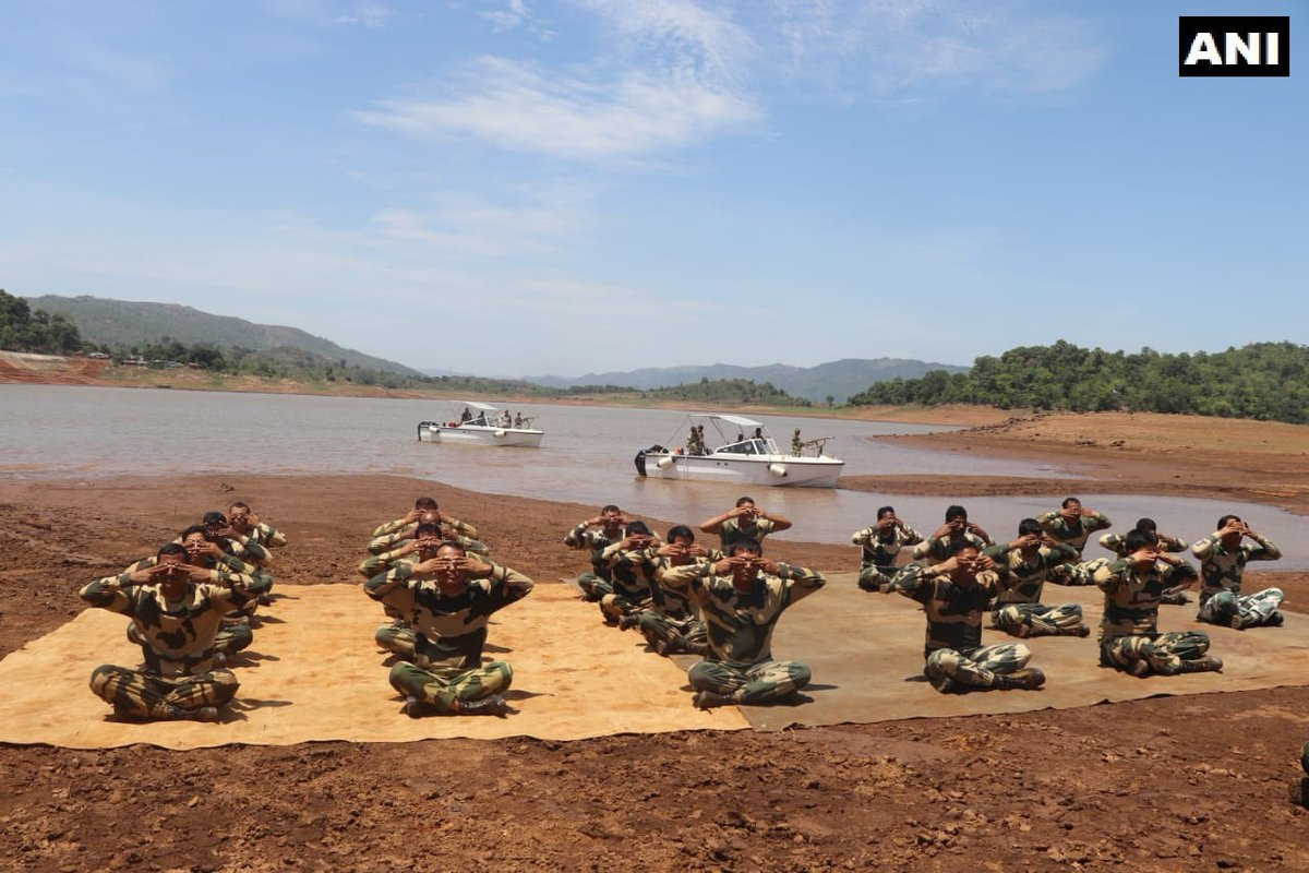 BSF troopers performed yoga in south Odisha's Naxal-affected Malkangiri district on Sunday.