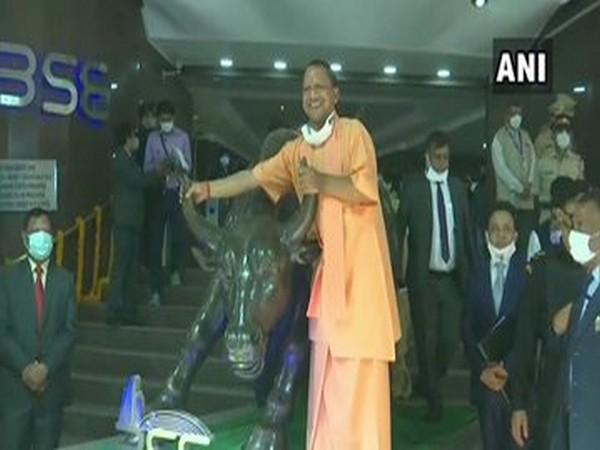 Uttar Pradesh Chief Minister Yogi Adityanath at BSE on Wednesday. (Photo/ANI)