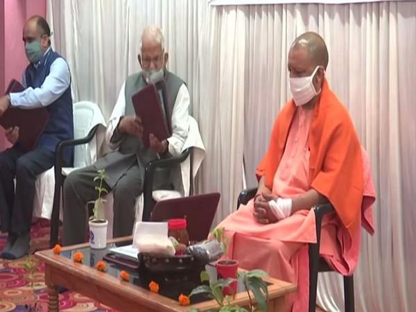 UP CM Yogi Adityanath at the launch of 'recycled incense sticks' in Gorakhpur. (Photo ANI)