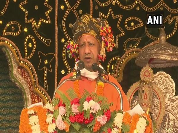 Uttar Pradesh Chief Minister Yogi Adityanath speaking at Ramlila Maidan in Gorakhpur on Sunday.