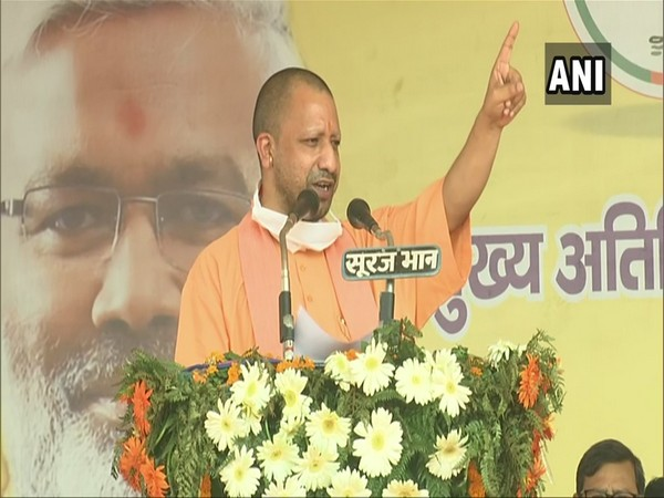 Uttar Pradesh Chief Minister Yogi Adityanath addressing a gathering in Bulandshahr on Thursday. Photo/ANI