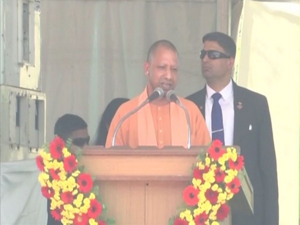 UP CM Yogi Adityanath speaking on the sidelines of the inauguration of Pandit Deendayal Upadhyaya Memorial Centre in Varanasi on Sunday. (ANI/Photo)