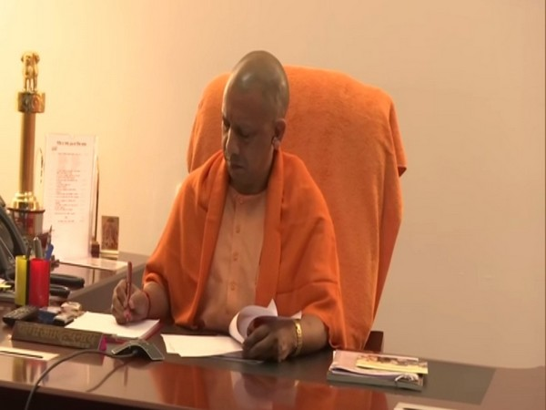 Uttar Pradesh Chief Minister Yogi Adityanath holds a video conference with all the District Magistrates in the state on Thursday. Photo/ANI