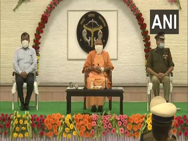 UP CM Yogi Adityanath at the Promotion Ceremony of  PAC personnel (Photo/ANI)