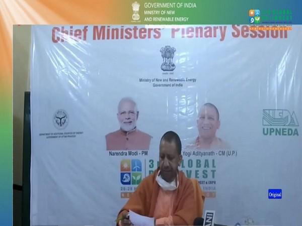 UP CM Yogi Adityanath at the meet on Friday. (Photo ANI/Twitter)