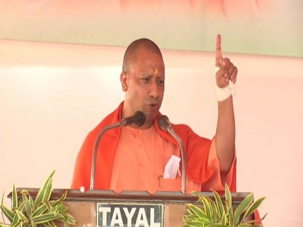 Uttar Pradesh Yogi Adityanath speaking at a function in Gorakhpur on Saturday. [Photo/ANI]