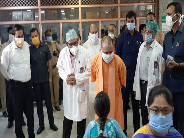 Uttar Pradesh Chief Minister Yogi Adityanath on his visit to Civil Hospital in Lucknow on Tuesday.
