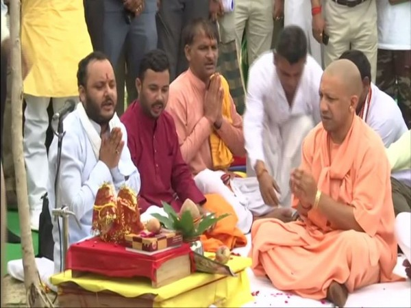 UP CM Yogi Adityanath perfoming puja in Lucknow on Friday. [Photo/ANI]