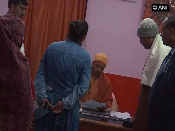 Uttar Pradesh Chief Minister Yogi Adityanath at Janta Darbar in Gorakhpur on Monday.
