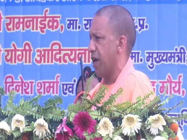 Uttar Pradesh Chief Minister Yogi Adityanath while speaking on the occassion of Ambedkar Jayanti in Lucknow on Sunday. Photo/ANI