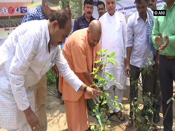 Chief Minister Yogi Adityanath planting a sapling