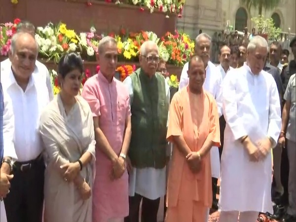 Visuals of Chief Minister Yogi Adityanath, Governor Ram Naik and other ministers inside Assembly complex in Lucknow, Uttar Pradesh.