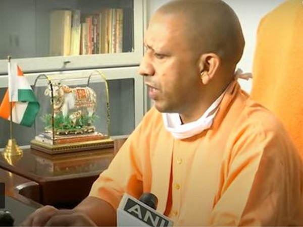 Uttar Pradesh Chief Minister Yogi Adityanath addressing a conference on Monday. Photo/ANI