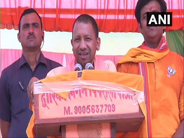 Chief Minister Yogi Adityanath addressing an election rally in Gorakhpur, Uttar Pradesh on Monday.