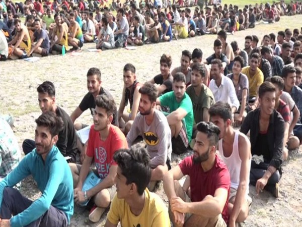 Several youth took part in an Army recruitment drive in Reasi on Tuesday (Photo/ANI)
