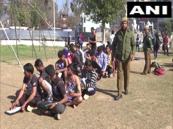 Local youth participating in a special recruitment drive for border areas by Jammu and Kashmir Police in Rajouri on Wednesday.